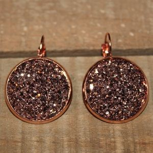 Rose Gold 25mm Druzy Earrings